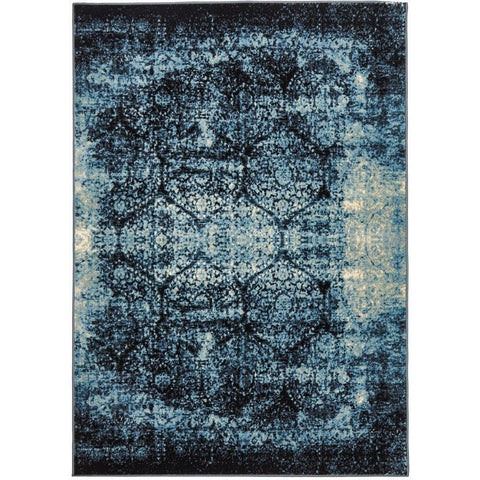 Denzel Faded Light Blue Navy Blue Beige Motif Modern Rug - Rugs Of Beauty - 1