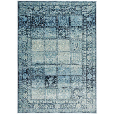 Denzel Blue Grey Beige Patchwork Pattern With Floral Motif Border Rug - Rugs Of Beauty - 1