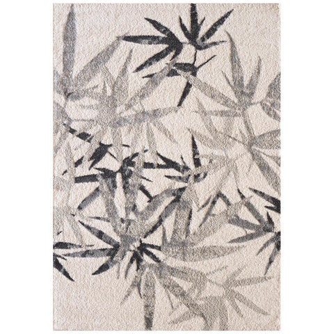 Kivalna 753 Grey Beige Leaf Patterned Plush Modern Rug - Rugs Of Beauty - 1