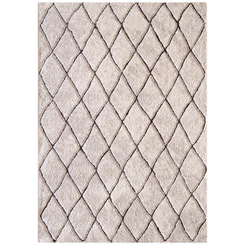 Kivalna 755 Brown Beige Trellis Patterned Plush Modern Rug - Rugs Of Beauty - 1