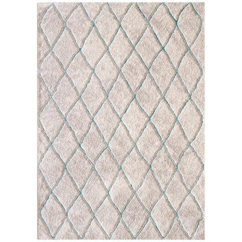Kivalna 755 Blue Beige Trellis Patterned Plush Modern Rug - Rugs Of Beauty - 1