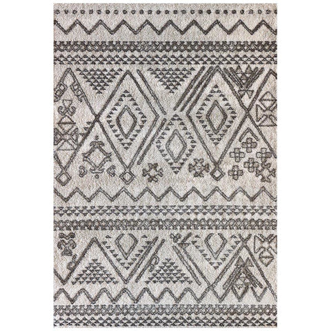 Kivalna 756 Grey Beige Abstract Patterned Plush Modern Rug - Rugs Of Beauty - 1
