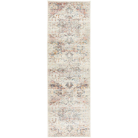 Salerno 1630 Silver Grey Multi Colour Transitional Medallion Patterned Runner Rug - Rugs Of Beauty - 1