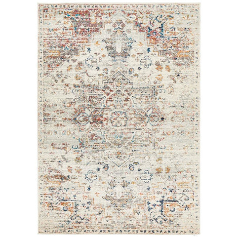 Salerno 1630 Silver Grey Multi Colour Transitional Medallion Patterned Rug - Rugs Of Beauty - 1