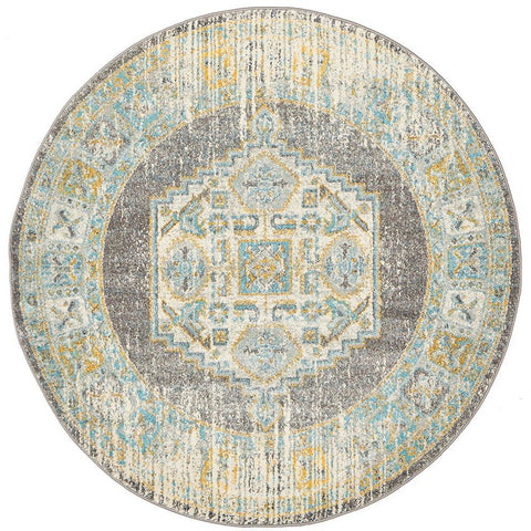 Salerno 1633 Grey Multi Colour Distressed Transitional Medallion Patterned Round Rug - Rugs Of Beauty - 1