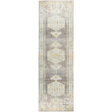 Salerno 1633 Grey Multi Colour Distressed Transitional Medallion Patterned Runner Rug - Rugs Of Beauty - 1