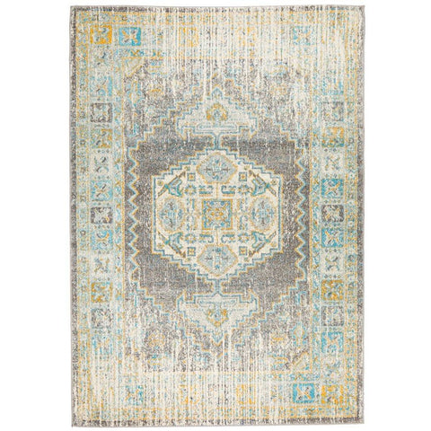 Salerno 1633 Grey Multi Colour Distressed Transitional Medallion Patterned Rug - Rugs Of Beauty - 1