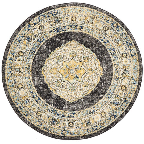 Salerno 1634 Charcoal Grey Multi Colour Transitional Medallion Patterned Round Rug - Rugs Of Beauty - 1
