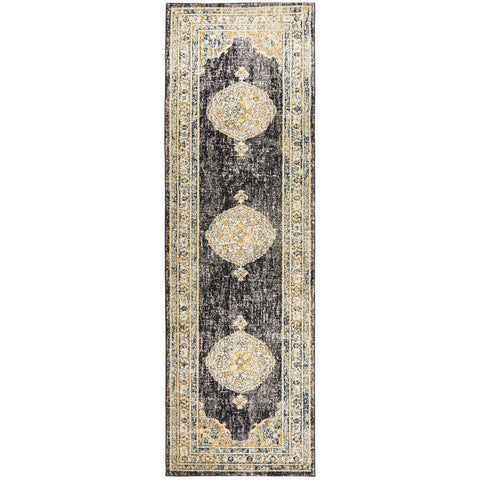 Salerno 1634 Charcoal Grey Multi Colour Transitional Medallion Patterned Runner Rug - Rugs Of Beauty - 1