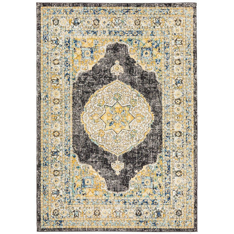 Salerno 1634 Charcoal Grey Multi Colour Transitional Medallion Patterned Rug - Rugs Of Beauty - 1