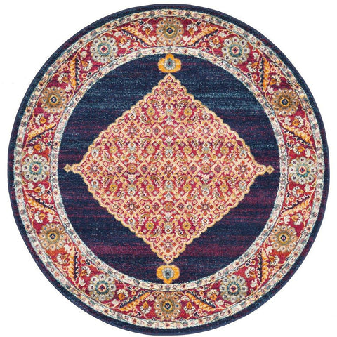 Salerno 1635 Blue Purple Multi Colour Transitional Medallion Patterned Round Rug - Rugs Of Beauty - 1