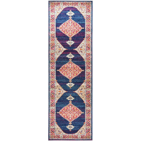 Salerno 1635 Blue Purple Multi Colour Transitional Medallion Patterned Runner Rug - Rugs Of Beauty - 1