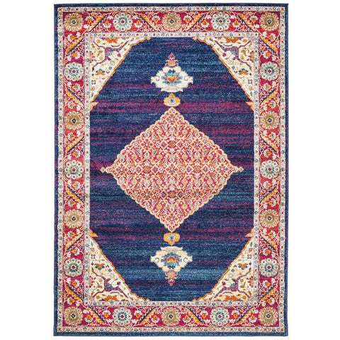 Salerno 1635 Blue Purple Multi Colour Transitional Medallion Patterned Rug - Rugs Of Beauty - 1