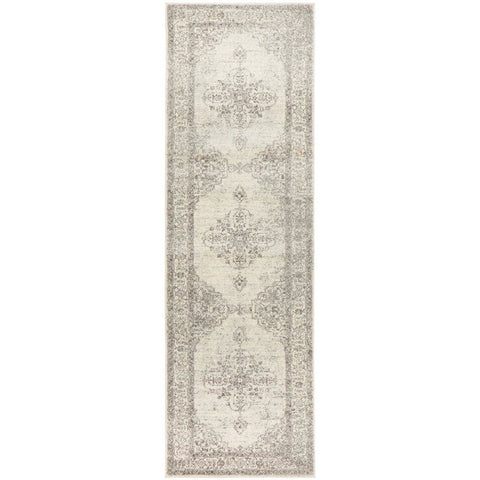 Salerno 1636 Silver Grey Multi Colour Transitional Medallion Patterned Runner Rug - Rugs Of Beauty - 1