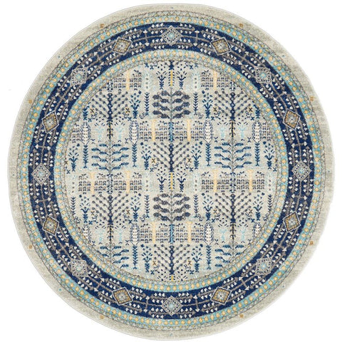 Salerno 1637 Blue Multi Colour Transitional Patterned Round Rug - Rugs Of Beauty - 1