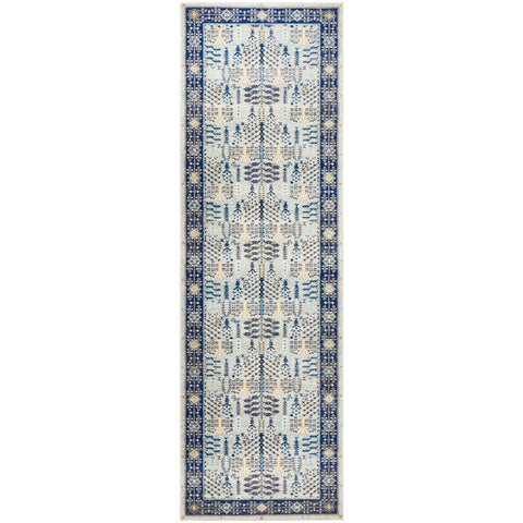 Salerno 1637 Blue Multi Colour Transitional Patterned Runner Rug - Rugs Of Beauty - 1