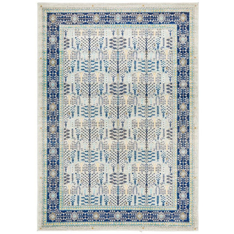Salerno 1637 Blue Multi Colour Transitional Patterned Rug - Rugs Of Beauty - 1