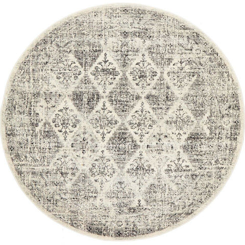 Salerno 1638 Grey Multi Colour Transitional Diamond Patterned Round Rug - Rugs Of Beauty - 1