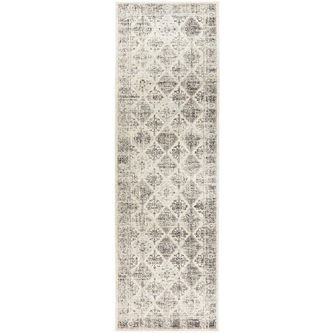 Salerno 1638 Grey Multi Colour Transitional Diamond Patterned Runner Rug - Rugs Of Beauty - 1