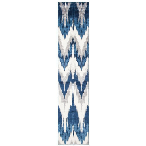 Abelino 3270 Blue Abstract Chevron Patterned Modern Designer Runner Rug - Rugs Of Beauty - 1