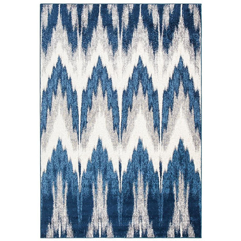 Abelino 3270 Blue Abstract Chevron Patterned Modern Designer Rug - Rugs Of Beauty - 1