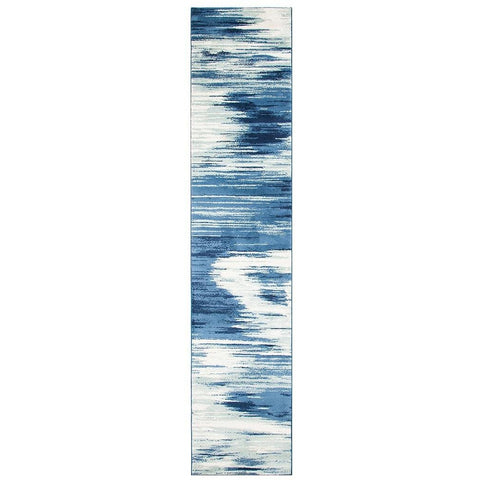 Abelino 3271 Blue Watercolour Abstract Patterned Modern Designer Runner Rug - Rugs Of Beauty - 1