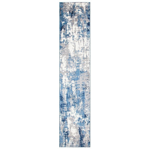 Abelino 3272 Blue Abstract Patterned Modern Designer Runner Rug - Rugs Of Beauty - 1