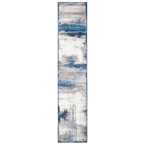 Abelino 3274 Blue Abstract Watercolour Patterned Modern Designer Runner Rug - Rugs Of Beauty - 1
