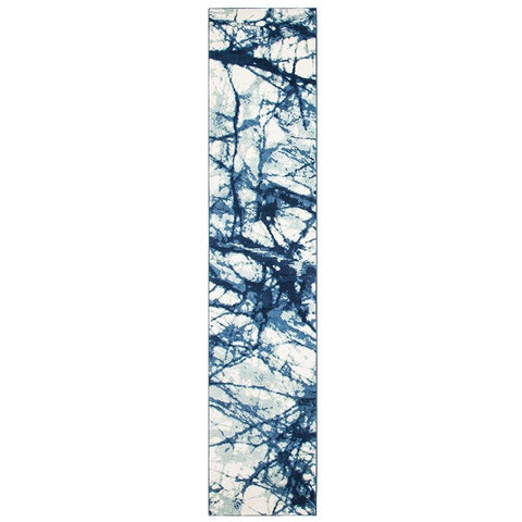 Abelino 3275 Blue Abstract Web Patterned Modern Designer Runner Rug - Rugs Of Beauty - 1