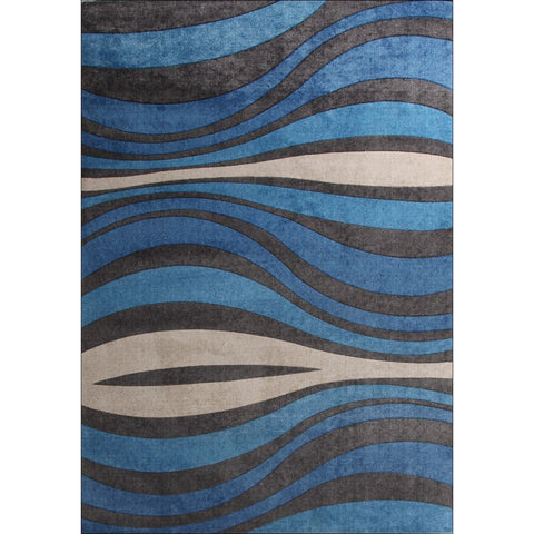 Calais Blue Beige Charcoal Waves Modern Rug - Rugs Of Beauty