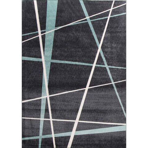 Calais Blue White Lines on Black Modern Rug - Rugs Of Beauty