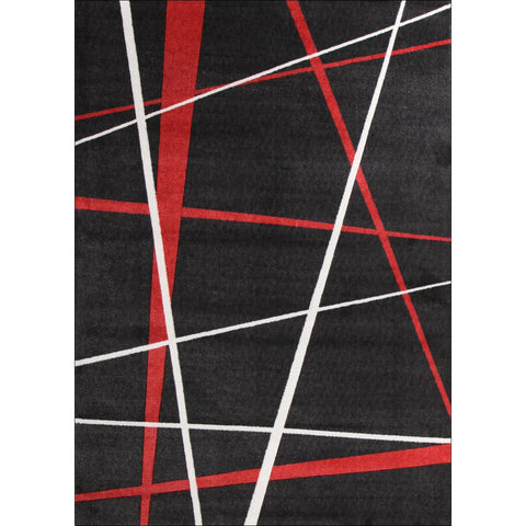 Calais Red White Lines on Black Modern Rug - Rugs Of Beauty