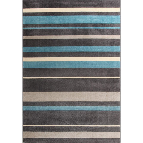 Calais Blue Grey Charcoal Modern Stripe Patterned Rug - Rugs Of Beauty