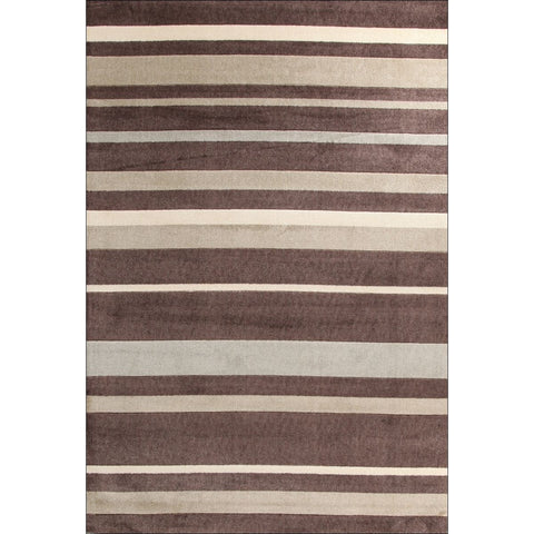 Calais Brown Grey Beige Modern Stripe Patterned Rug - Rugs Of Beauty