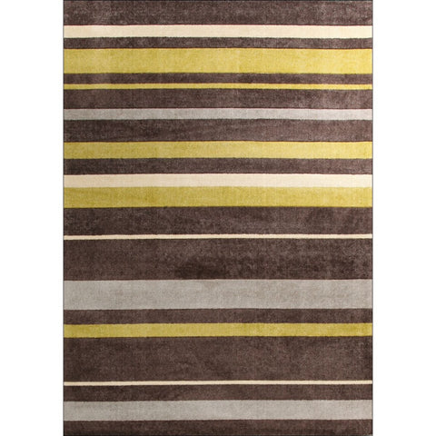 Calais Brown Green Grey Beige Modern Stripe Patterned Rug - Rugs Of Beauty