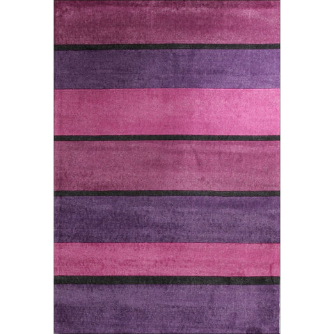 Calais Purple Pink Black Stripe Modern Rug - Rugs Of Beauty