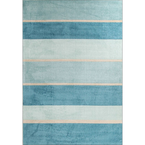 Calais Blue Beige Stripe Modern Rug - Rugs Of Beauty