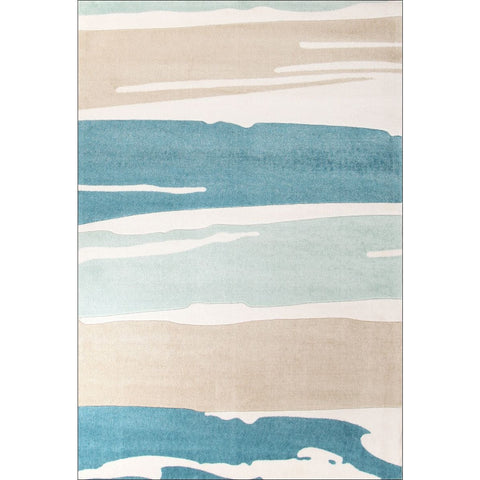 Calais Pastel Painted Patterns Blue White Taupe Modern Rug - Rugs Of Beauty