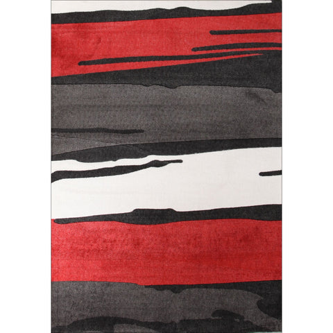 Calais Bold Painted Patterns Black Red White Grey Modern Rug - Rugs Of Beauty