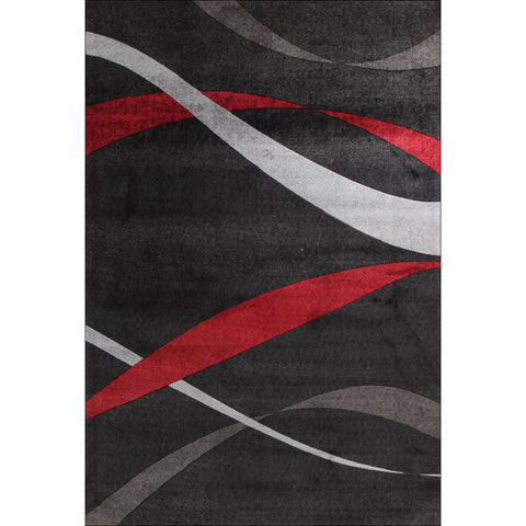 Calais Red Grey Ribbon Patterned Charcoal Modern Rug - Rugs Of Beauty