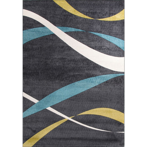 Calais Lime Green Blue Beige Ribbon Patterned Charcoal Modern Rug - Rugs Of Beauty