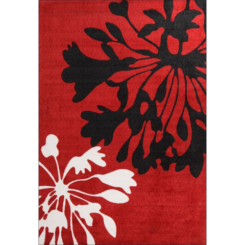 Calais Flower Bud Floral Print Rug Red Black White - Rugs Of Beauty