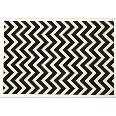 Stunning Modern Chevron Design Rug Black White - Rugs Of Beauty - 1