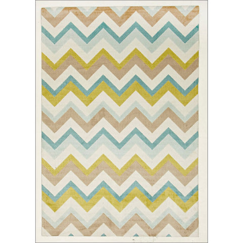 Stunning Chevron Design Rug Green Brown Cream - Rugs Of Beauty - 1