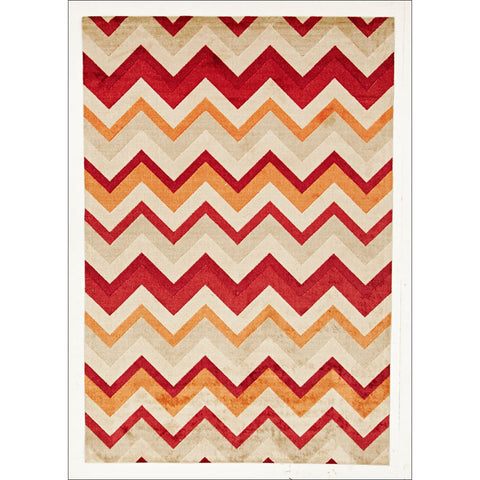 Stunning Chevron Design Rug Rust Red - Rugs Of Beauty - 1