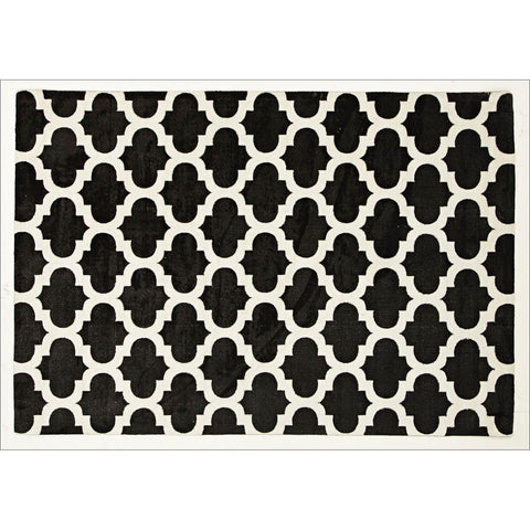 Calais Contemporary Black Trellis Patterned Rug - Rugs Of Beauty
