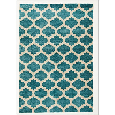 Calais Contemporary Blue Trellis Patterned Rug - Rugs Of Beauty