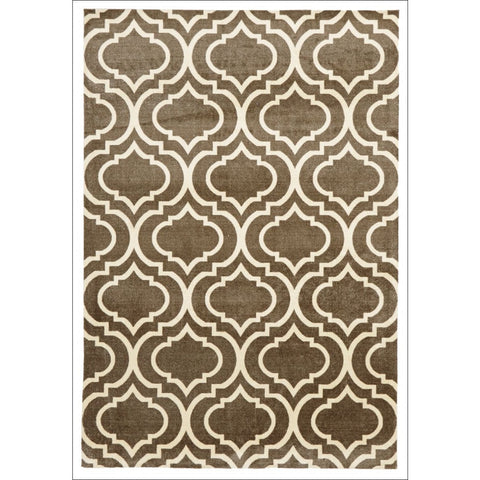 Calais Modern Trellis Ash Brown Rug - Rugs Of Beauty