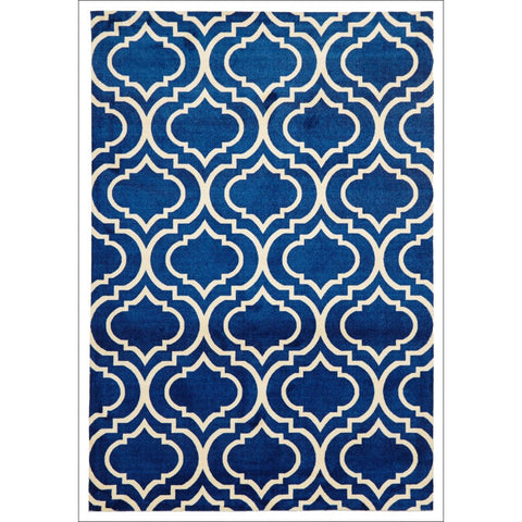 Modern Trellis design Rug Navy - Rugs Of Beauty - 1