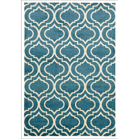 Modern Trellis design Rug Peacock - Rugs Of Beauty - 1